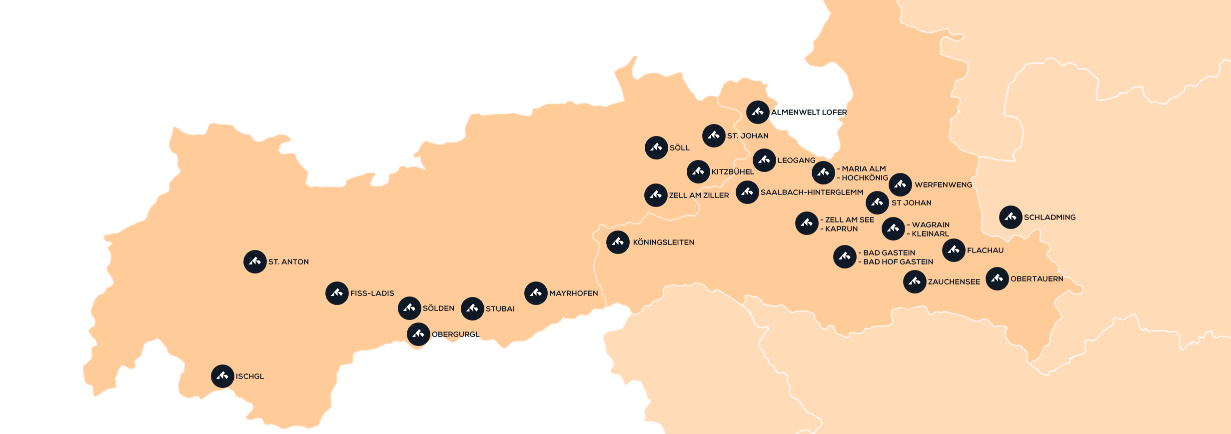 Map of ski destinations in Austria