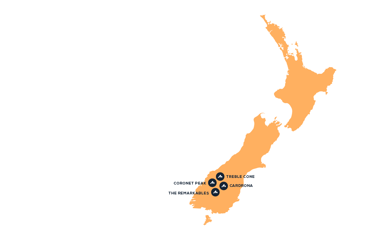 Map of ski destinations in New Zealand snowminds
