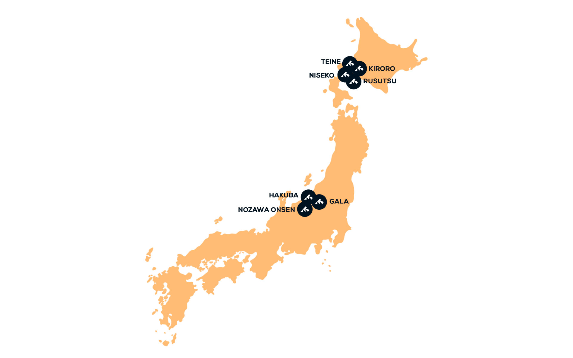 Map of ski destinations in Japan snowminds
